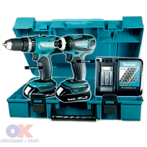 makita dlx2020y akku set 18 v dhp453 dtd146. Black Bedroom Furniture Sets. Home Design Ideas
