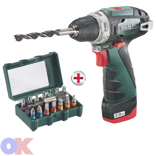 metabo akku bohrschrauber 10 8 v powermaxx bs 2 x akku 2 0ah bit box 15tlg neu ebay. Black Bedroom Furniture Sets. Home Design Ideas